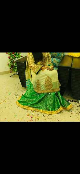 Mehndi Frock with sharara and trouser