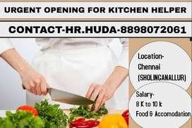 URGENT OPENING FOR KITCHEN  HELPER AT CHENNAI