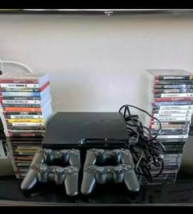 PS3 console. 3 controller 30 game sale offer
