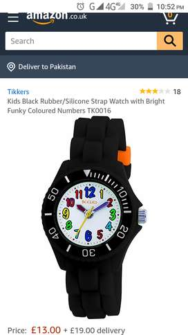 Tikkers Kids Black Rubber/Silicone Strap wrist Watch TK0016