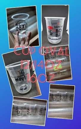 Custom logo dan print logo gelas plastik oval 16oz