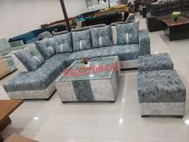 FACTORY CLOSING SELL::New L-Shape Sofa Set With table and two puffies