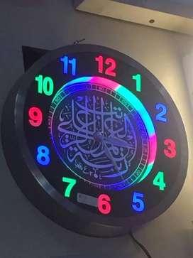 Jam Dinding LED Kaligrafi Berbunyi Jam Adzan