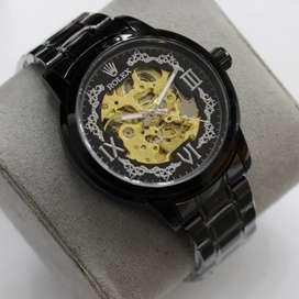 Jam tangan Rolex Kinetik Hitam stainless Mesin Automatic