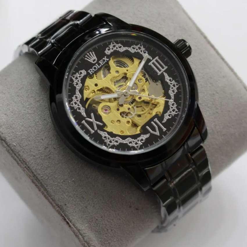 Jam tangan Rolex Kinetik Hitam stainless Mesin Automatic 0