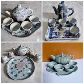 Guci Keramik Kuno Porselen Antik Vintage Miniatur Teko Cangkir Nampan