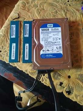 Hardisk WD 500GB sama ram 4GB