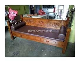 bale bale jati, daybed kayu ukir minimalis jepara kf-9484