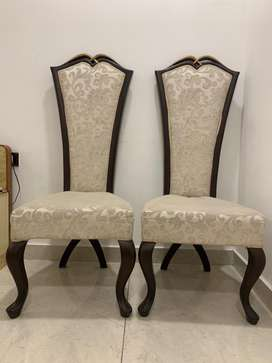 2 High Back Chairs - Beige Colour