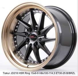 jual velg model celong HSR R15X8-9 H8X100-114,3 ET30-25 BK-BZL