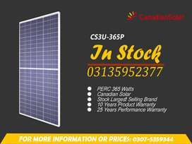 Whole Sale Cost of, Canadian Solar Panel, 365 Watts PERC in Pakistan