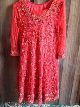 Wedding dress, red embroidery, red dress