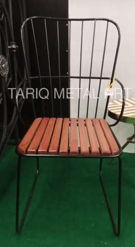 Wrought Iron Chair | Wooden Seat New Design