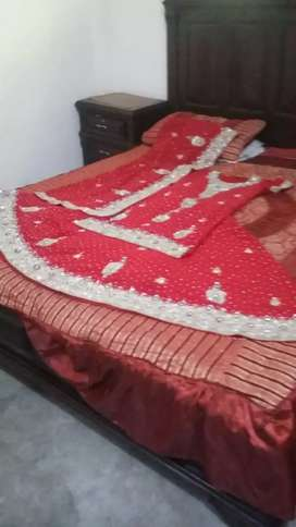 Red lehnga with silver work