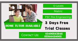 Home Tutor Available (3 Days  free trial class)