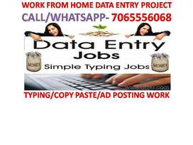 PART TIME HOME BASED DATA ENTRY PROJECT WORK FROM HOME COPY PASTE WORK