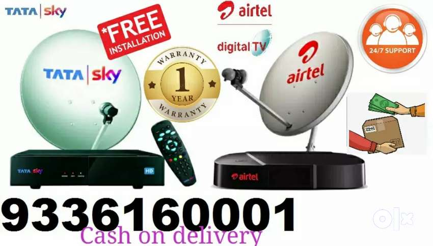 Book now full connection TATA Sky Dth & Airtel Dth set-top box Cash 0