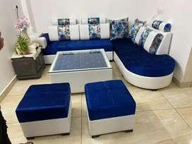 P A furniture mart brsnd new L shape sofa wth 1tble nd 2 puffie₹16500