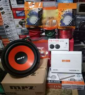 "Plus Pasang,Power ADS 4ch+Subwoofer MRZ 12""+Tweeter Ts 1 set+Box Mdf"