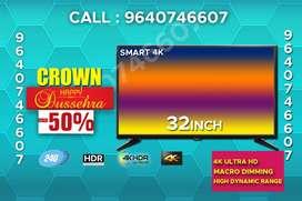 "32""SMART Crown LED 4K FULL HD 1080P 2yrs Warrenty WITH BILL"
