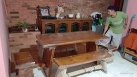 Meja makan kursi trembesi furniture melamin