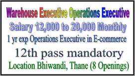 12th Only 1 yr Operations Executive in E-commerce