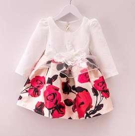 Full Sleeve Baby Birthday Dress with Flower Print