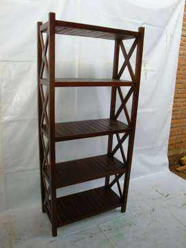Rak buku minimalis modern terbaru kayu jati