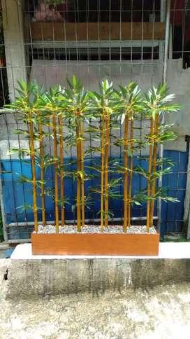 Bambu Palsu Sintetis Pot Bambu Pembatas Untuk Taman