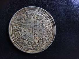 Rare one rupee old coin