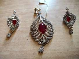 Ruby diamond necklace set || With tag || Premium Quality ||