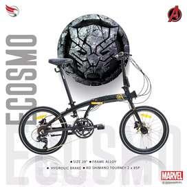 Sepeda Lipat Ecosmo Z8 Black Panther 2x8 speed