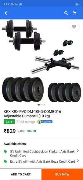 Rarely used 10kg dumbbells set