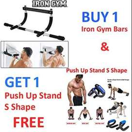 Iron Gym Bar - Upper Body Work Out - Black & Silver