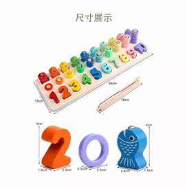 Mainan kayu anak/ 3 in 1 puzzle fishing and number