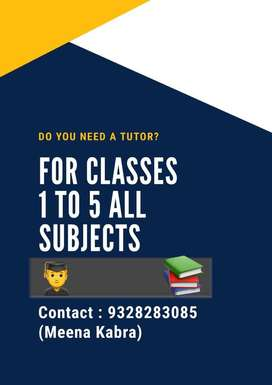Personal Tutions for class 1 to 8