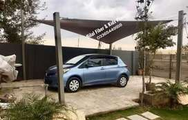 Tensile fabric shades for car parking