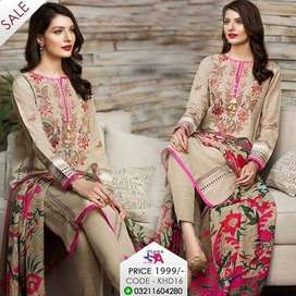 Ladies Suits Unstitched Embroided Linen Winter Collection 2019