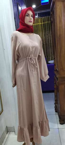 dress cantik pink serut