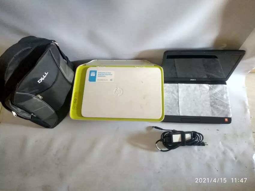Di jual sepaket laptop dell dan printer Hp normal