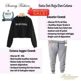 AM00335 Celana Setelan Satu set Sweater cewek dan celana joger