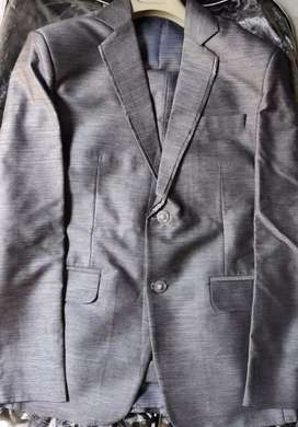 38 M grey suit- pant with purple yellow tie