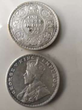 Silver coin 90/parsent year1914 one rupaya
