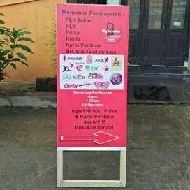 jagrak standing A banner cetak rontag baliho Segitiga mmt Kaca Film