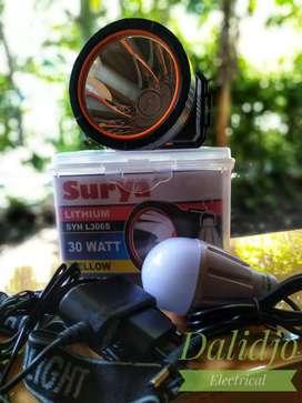 Senter kepala 30 watt cahaya kuning pekat bonus lampu emergency