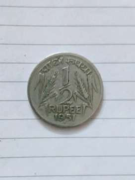 1/2 Rupees 1951 year