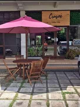 MEJA PAYUNG MEJA TAMAN OUTDOOR, meja cafe, 1 set meja payung