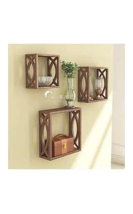 MDF Wall Shelf   Cube Design Wall Mounted Shelves Set of 3 (Brown)