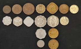 Collection of Old Indian coins from 18th Century onwards