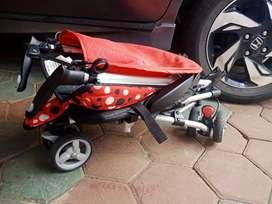 JUAL stroller iSport chocolatte merah polka ..